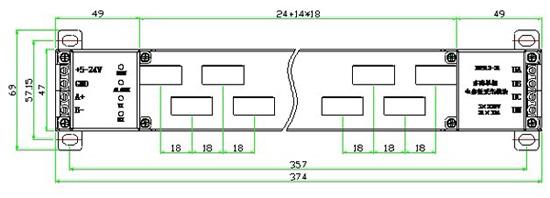 MH912系列模块是一款智能型多路单相电参数数据综合采集模块,在一个模块内集中了6-21路单相交流电参数采集功能,能准确测量输入的三相电压、频率和模块工作温度;也能准确测量每一路的电流、有功功率、视在功率、功率因数、有功电能等电参数。 其输入为三相交流电压直接输入(0-500V)、每路电流(0-63A)直接穿过模块内互感器输入;输出为RS-485或RS-232接口的数字信号,支持MODBUS-RTU协议。 MH912模块是一款高性价比的智能电参数变送器,它能替代过去的电流、电压、功率、 功率因数、电量等一
